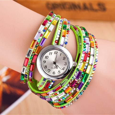 Braided Bracelets Bangles Quartz Wrist Watch Fashion Women Crystal Leather Strap Watch Jewelry Dropshipping