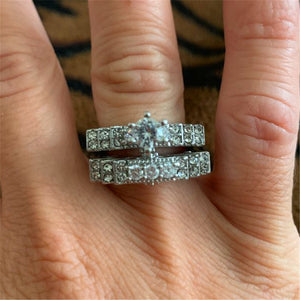 Brand Cute Female Crystal White Round Ring Set Luxury 925 Silver Engagement Ring Vintage Bridal Wedding Rings For Women - thefashionique