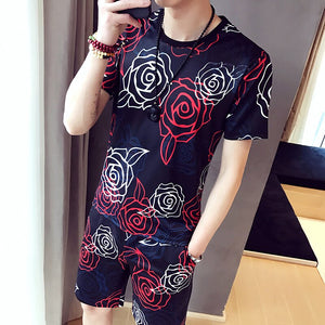 Brand Fashion Print Casual Suits Men 2Pcs Tshirt Sweatpants 2020 Summer Men's Sportswear Nightclub Social Sets Men Clothes