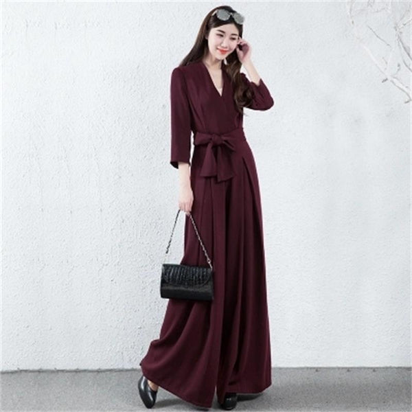 Brand Hot Spring Elegance Womens Jumpsuit Jumpsuit Leisure Pure Color Elegant Jumpsuit Cropped Sleeve V-Neck Long Jumpsuit XL - thefashionique