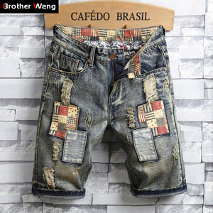 Brand Men's Retro Style Ripped Denim Shorts 2019 Summer New Fashion Casual Hole Patch Jean Shorts Male Brand Clothes - thefashionique