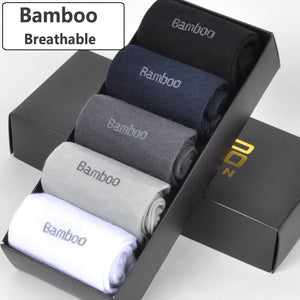 Brand New Men Bamboo Fiber Socks High Quality Casual Breatheable Anti-Bacterial Man Long Sock 5pairs / lot - thefashionique