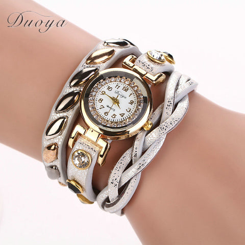 Brand New Women Bracelet Leather Strap Watch Hot Sales Women Dress Long Chain Wristwatches Luxury Ladies Gift Quartz Watch #D
