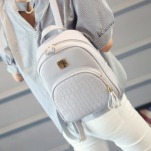 Brand PU Leather Mini Backpacks for girls korean Small women Backpack Female Back pack black grey pink blue 2018 - thefashionique