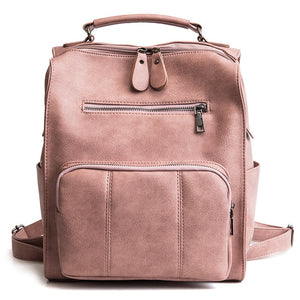 Brand Vintage Leather Backpack for Women British high quality Backpack Feminina Casual black pink grey khaki 2018 - thefashionique