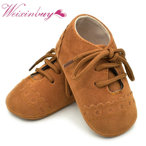 Brand Vintage Rubber Bottom Baby Shoes Non-Slip Newborn Infant T-tied First Walkers Girls Toddler Lace-UP Soft Sole Shoes - thefashionique