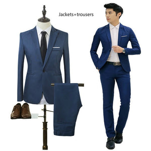Brand men's dress 2018 Slim models men's formal wedding groom suit a key self-cultivation fitness jacket tuxedo jacket - thefashionique