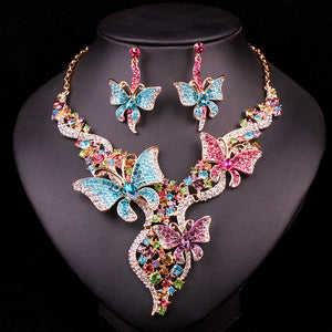 Bridal Jewelry Sets & More Wedding Necklace Earring For Brides Party Accessories Gold Color Butterfly Decoration Gift Women - thefashionique