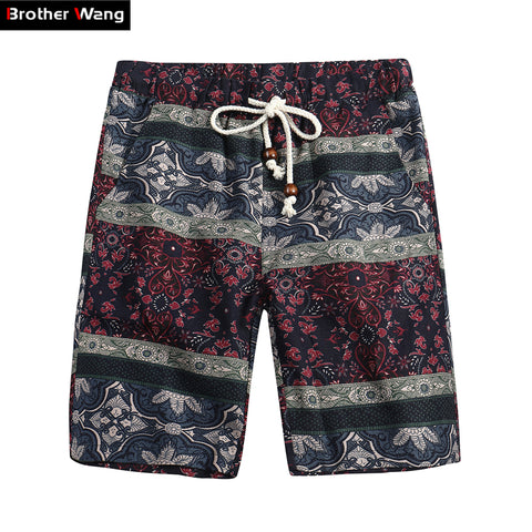 Brother Wang Brand 2018 Summer New Men's Bermuda Shorts Fashion Casual Loose Straight Floral Pattern Beach Shorts Male 5135