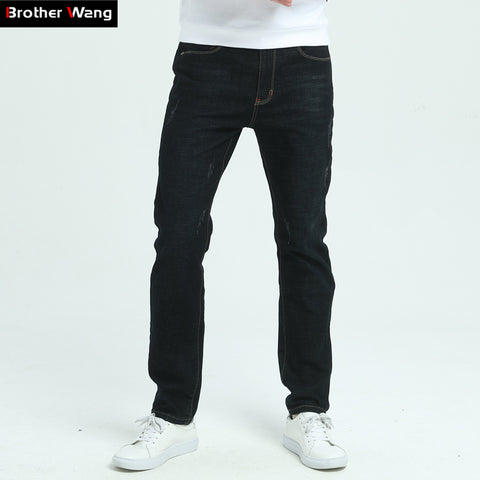 Brother Wang Brand Men's Clothing 2017 Winter New Men's Black Slim Jeans Elastic Skinny Jeans Trousers Jeans Male 40 42