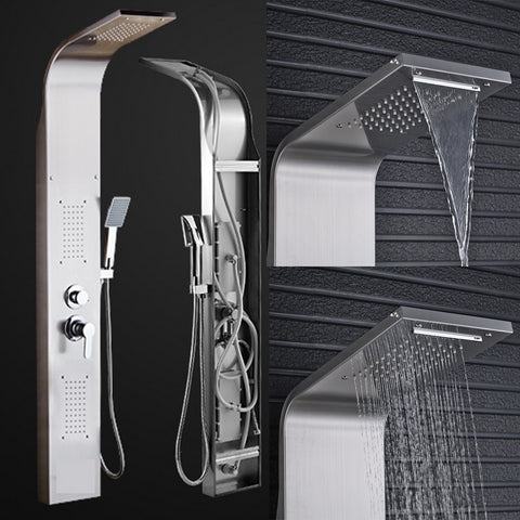 Brushed Nickel Shower Panel Tower Rain Waterfall Massage Body System Jet Tub Tap With Hand Shower Tub Spout Tower Shower Column