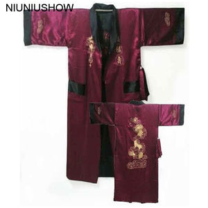 Burgundy Black Reversible Chinese Men's Satin Silk Two-face Robe Embroidery Kimono Bath Gown Dragon One Size S3003 - thefashionique