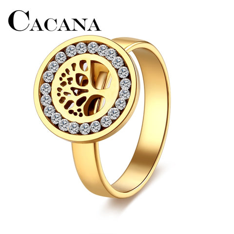 CACANA High Quality Fashion Crystal Tree Classical Stainless Steel Rings For Women Hollow  Jewelry Christmas Gift