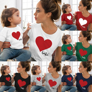 CALOFE Mommy and  Clothes T shirt Family Matching Clothes Summer Love Print T Shirt Mother and Daughter Clothes Family Look - thefashionique