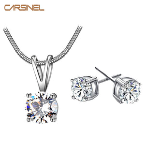 CARSINEL CZ Necklace Earring Jewelry Sets Wholesale Silver color Snake Chain Necklace Stud Earring Wedding Bridal Engagement - thefashionique