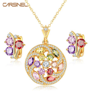 CARSINEL New Arrival Gold color Jewelry Sets Fashion Multi-Color Zircon Stone Necklace Earring set Wedding & Engagement Jewelry - thefashionique