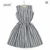CDJLFH Fashion Casual Summer striped Women Dress Loose Short Sleeve Chiffon Dress Sexy Party Mini Dresses Of The Big Sizes - thefashionique