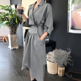 CHICEVER 2017 Autumn High Waist Hem Irregular Dress Women Three Quarter Sleeve Loose Black Dresses Clothes Fashion Vestidos New - thefashionique