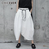 CHICEVER Spring Casual White High Waist Loose Big Size Cross-pants For Women Lace Up Sashes Pockets Female Pant 2019 Fashion New - thefashionique