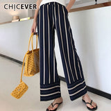 CHICEVER Spring Striped Wide Leg Pants Female High Waist Elastic Patchwork Pocket Long Trousers Fashion Womens Pants 2019 New - thefashionique