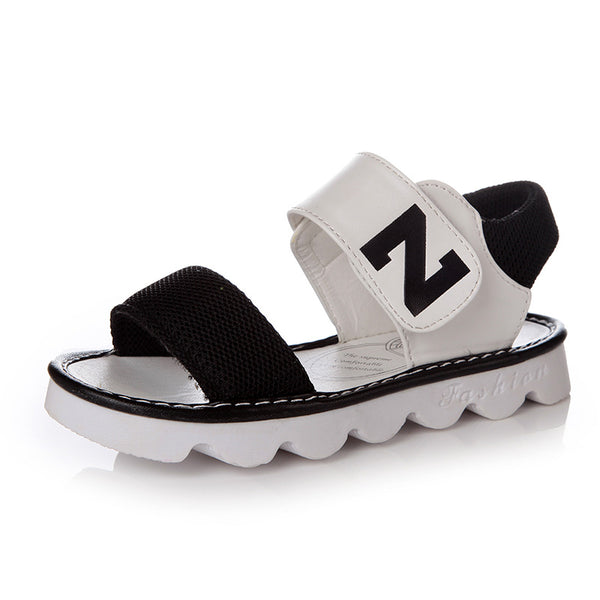 CN 27-37 black pink yellow 2018 fashion brand designer summer new Korean letter N girls sandals baby kids princess shoes - thefashionique