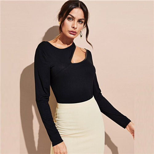 COLROVIE Black Workwear Asymmetric Cut Out Women T-Shirt 2018 Autumn Solid Sexy Slim Top Tee Pullovers Basic Women Clothing - thefashionique