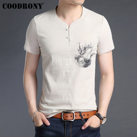 COODRONY T Shirt Men Cotton Linen Short Sleeve T-Shirt Men 2019 Summer Chinese Style Painted Henry Collar Tee Shirt Homme S95028