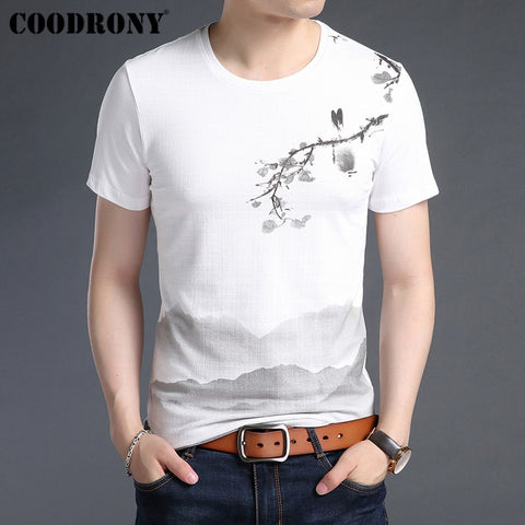 COODRONY T Shirt Men Soft Cotton Linen Short Sleeve T-Shirt Men 2019 Summer Chinese Style Painting O-Neck Tee Shirt Homme S95029