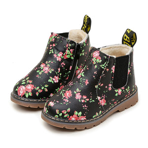 Kids Floral Ankle Boots Girls PU Leather Zipper Trainer Toddler Flat Shoes Size