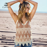 CUPSHE Coffe Camisole Cover Up 2019 Summer Women Casual Crochet Tank Top Beachwear - thefashionique