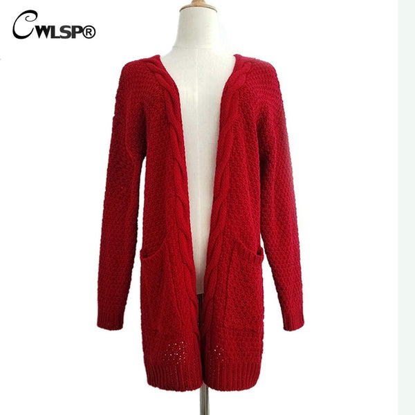 CWLSP Casual Long Sleeve Computer Knitted Autumn Women Long Sweater Open Stitch Solid Pockets Female Cardigan Sweater   QZ2320 - thefashionique