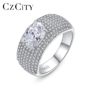 CZCITY Luxury Authentic 100% 925 Sterling Silver Micro CZ Paved Engagement Rings for Women Bride Finger Ring Female Gift  SR0451
