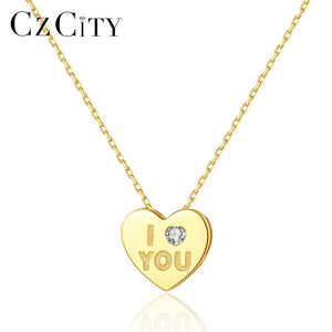 CZCITY Solid Pure 14k Gold Love Heart Pendant Necklaces for Women Wedding Engagement Yellow Gold Fine Jewelry Colar Femme N14132