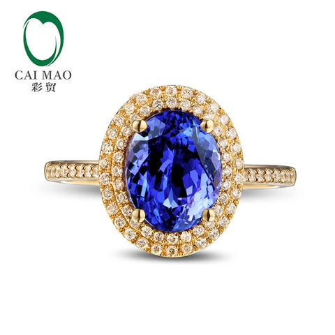 Caimao 7x9mm Oval Violet Blue Tanzanite Natural 0.31ct Diamonds 14k Gold Engagement Wedding Ring - thefashionique