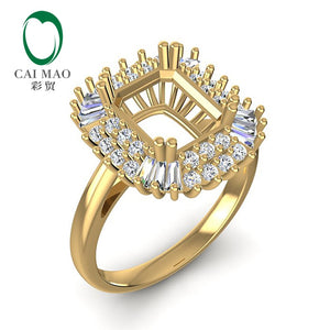 Caimao Baguette And Round Diamond 7x9mm Emerald Cut 14k Yellow Gold 0.58ct Prong Engagement Ring