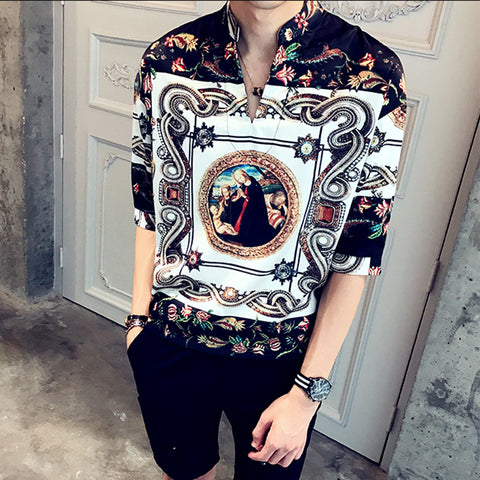 Camisa Masculina Vintage Palace Men Silk Shirts Mens Dress Royal Social Club Luxury Baroque Shirts Men Erkek Gomlek Floral Fancy