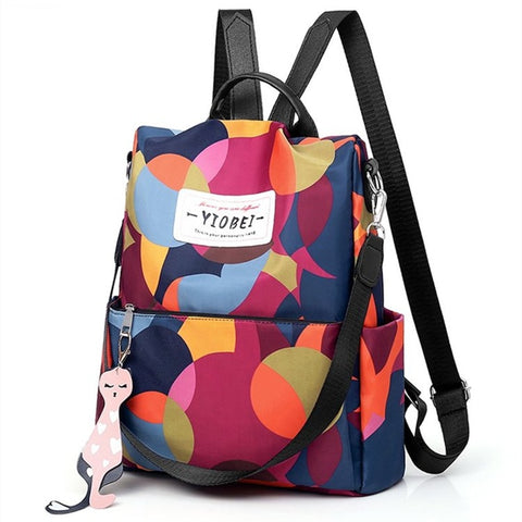Camouflage Package Waterproof Nylon Floral Backpack Geometric Lightweight Color Leisure or Travel Bag for Women Cute School Bag - thefashionique