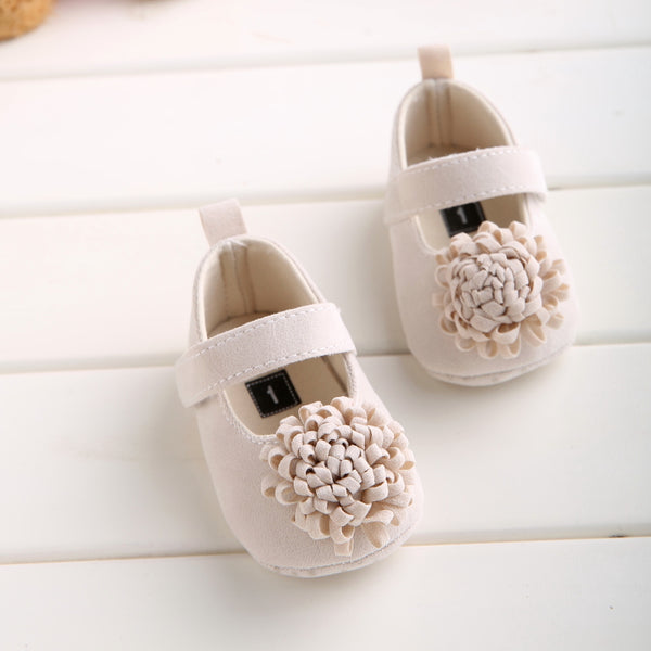 Candy Colors Newborn Baby Prewalker Soft Bottom Anti-slip Shoes Footwear Classic Princess Girl Crib Mary Jane Big Flower Shoes - thefashionique
