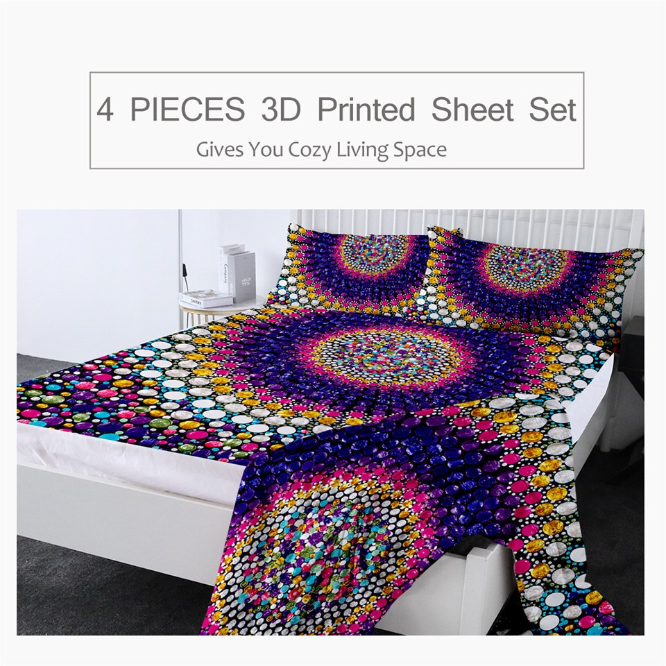 Candy by Amy Diener Fitted Sheet Queen Colorful Bed Sheet Set Abstract Flat Sheet Dots Art Bedding 4-Piece Purple Mattress Cover