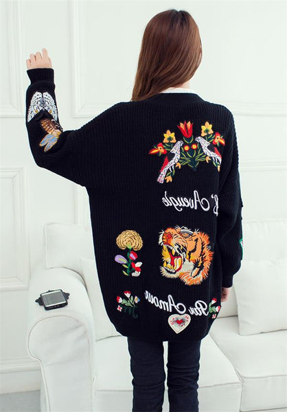 Cardigan Women 2016 Winter Embroidered Tiger Sweater Head Pearl Buckle Long Knit Cardigans Casual Fashion Sweater Coat - thefashionique