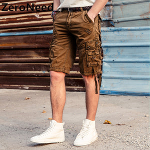 Cargo Shorts Mens 2017 New Summer Shorts Men Cotton Knee Length Men Casual Plus Size Comfortable Fashion Brand Short Homme 148