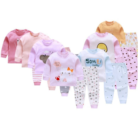 Cartoon Baby Girl Clothing Set New Style Autumn Cotton 2Pcs Long Sleeve Suits Infant Toddler Clothes Cute Pajamas Outfits