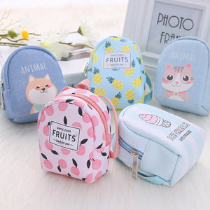 Cartoon Mini Coin Purse Women Wallet Zipper Handbag Girls Cute Money Bags Keys Card Holder Wallet Earphone Package Kids Gift - thefashionique