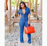 Casual Denim Romper Jumpsuits for Women Solid One Piece Body Mujer Jean Jumpsuits with Sashes Summer Blue Overalls Plus Size - thefashionique