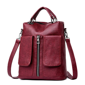 Casual Double Pocket Backpack Female Large Capacity School Bag for Girls High Quality Bookbag Leather Shoulder Bags for Women - thefashionique