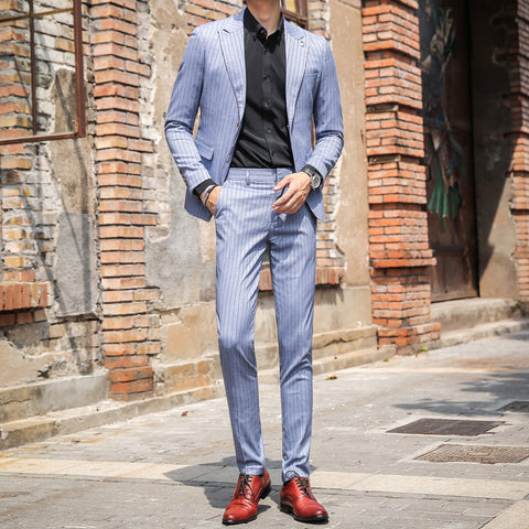 Casual Man Suits Slim Fit Striped Men Suits High Quality Elegant Mens Suits with Pants Blue Mens Tuxedo Business Dress Smoking