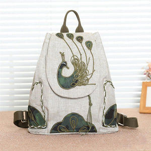 Casual Peacock Handmade Women Backpacks Large Capacity Drawstring Student School Bag For Girls Mochilas Feminina - thefashionique