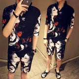 Casual Slim Street Sportswear Two-piece Fashion Trend Cotton Printing Color 2020 Men's Shorts Short-sleeved Two-piece Hot Sale