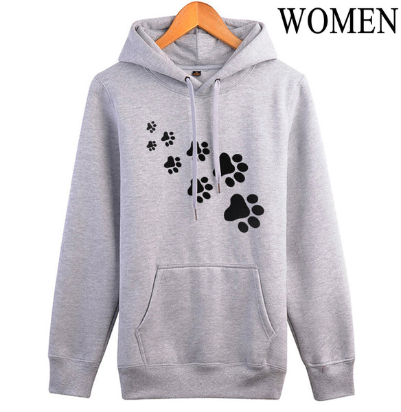 Casual fleece autumn winter sweatshirt pullovers 2017 kawaii cat paws print hoodies for Women black pink brand tracksuits femme - thefashionique