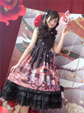 Cat Lantern Show Chinese Style Hanfu Ruqun Dress Lolita JSK Sleeveless Dress Cute Fairy Kei Fancy Party Dress Red & Black - thefashionique